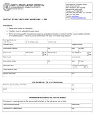 "Form SFN59567 ""North Dakota Event Approval"" - North Dakota"