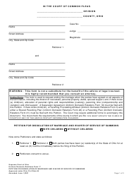 """Uniform Domestic Relations Form 17 """"Petition for Dissolution of Marriage and Waiver of Service of Summons"""" - Ohio"""