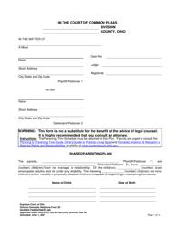 "Uniform Domestic Relations Form 20 ""Shared Parenting Plan"" - Ohio"