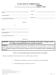 """Uniform Domestic Relations Form 13 """"Reply to Counterclaim for Divorce With Children"""" - Ohio"""