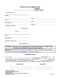 "Uniform Domestic Relations Form 21 ""Parenting Plan"" - Ohio"