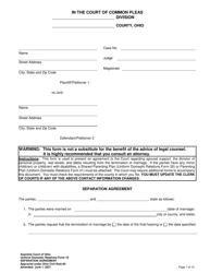"Uniform Domestic Relations Form 19 ""Separation Agreement"" - Ohio"
