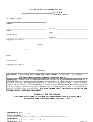 """Uniform Domestic Relations Form 23 (Uniform Juvenile Form 2) """"Complaint for Parentage, Allocation of Parental Rights and Responsibilities (Custody), and Parenting Time (Companionship and Visitation)"""" - Ohio"""
