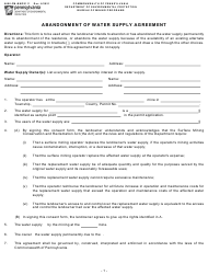"""Form 5600-FM-BMP0111 """"Abandonment of Water Supply Agreement"""" - Pennsylvania"""
