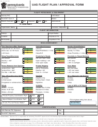 """Form AV-14 """"Uas Flight Plan/Approval Form"""" - Pennsylvania"""