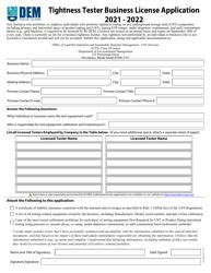 """Tightness Tester Business License Application"" - Rhode Island, 2022"