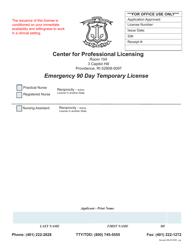 """Emergency 90 Day Temporary License Application"" - Rhode Island"