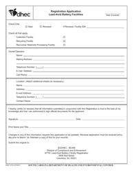 "DHEC Form 2733 ""Lead Acid Battery Facilities Registration Form"" - South Carolina"