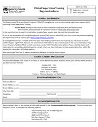 "Form DDAP-EFM-3000 ""Clinical Supervision Training Registration Form - October"" - Pennsylvania"
