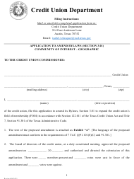 """""""Application to Amend Bylaws (Section 3.01) Community of Interest - Geographic"""" - Texas"""