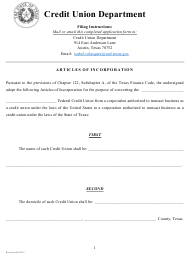 """""""Articles of Incorporation - Charter Conversion"""" - Texas"""