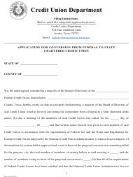 """""""Application for Conversion From Federal to State Chartered Credit Union"""" - Texas"""