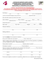 """Concealed Handgun Carry License Firearms Safety Training Instructor Registration Application Form"" - Arkansas"