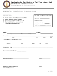 """""""Application for Certification of Part-Time Library Staff"""" - Kentucky"""