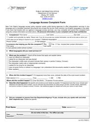 """Form LA-1E """"Language Access Complaint Form"""" - New York"""