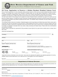 """Form DV """"Application to Receive a Lifetime Resident Disabled Veteran Card"""" - New Mexico"""