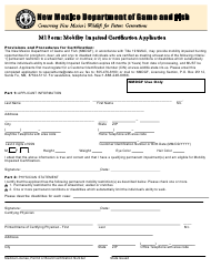 """Form MI """"Mobility Impaired Certification Application"""" - New Mexico"""