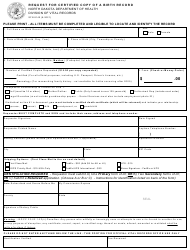 """Form SFN8140 """"Request for Certified Copy of a Birth Record"""" - North Dakota"""