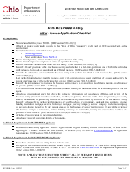 """Form INS3038 """"Title Business Entity Initial License Application Checklist"""" - Ohio"""