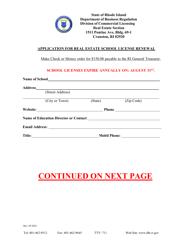"""Application for Real Estate School License Renewal"" - Rhode Island"