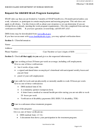 """Form DHS-SNAP-ABAWD-2 """"Request for Abawd Work Program Exemption"""" - Rhode Island"""