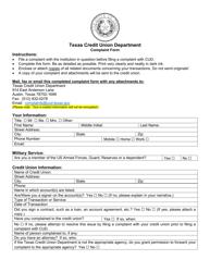 """""""Complaint Form"""" - Texas"""