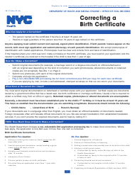 """Form VR172 """"Correcting a Birth Certificate"""" - New York City"""