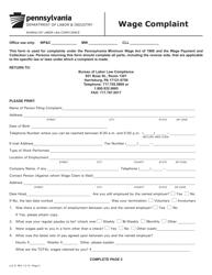 "Form LLC-9 ""Wage Complaint"" - Pennsylvania"