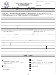 """Form WCA-1 """"Statement of Claim for Wages"""" - Connecticut"""