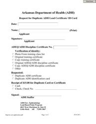 """Request for Duplicate Adh Lead Certificate/Id Card"" - Arkansas"