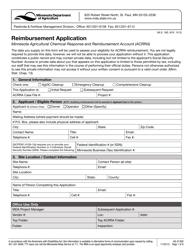 "Form AG-01309 ""Reimbursement Application"" - Minnesota"