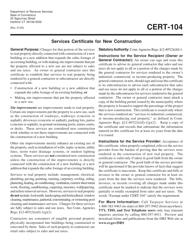 "Form CERT-104 ""Services Certificate for New Construction"" - Connecticut"