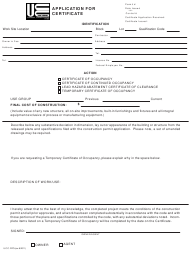 """UCC Form F270 """"Application for Certificate"""" - New Jersey"""