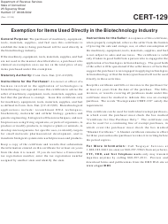 """Form CERT-129 """"Exemption for Items Used Directly in the Biotechnology Industry"""" - Connecticut"""