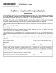 "Form DR1290 ""Certification of Registered Marketplace Facilitator"" - Colorado"