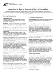 "Form DR5002 ""Standard Colorado Affidavit of Exempt Sale"" - Colorado"
