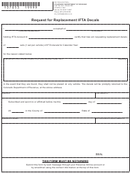 """Form DR7053 """"Request for Replacement Ifta Decals"""" - Colorado"""