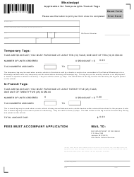 """Form 76906 """"Application for Temporary/In-transit Tags"""" - Mississippi"""