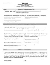 """Form 79616 """"Application for Ad Valorem Exemption Volunteer Fire Fighter"""" - Mississippi"""