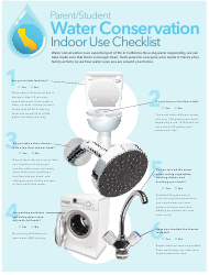 """""""Parent/Student Water Conservation Indoor Use Checklist"""" - California"""