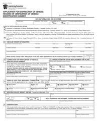 "Form MV-41 ""Application for Correction of Vehicle Record or Verification of Vehicle Identification Number"" - Pennsylvania"