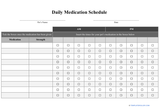 """Daily Medication Schedule Template - Willows Vets"" Download Pdf"