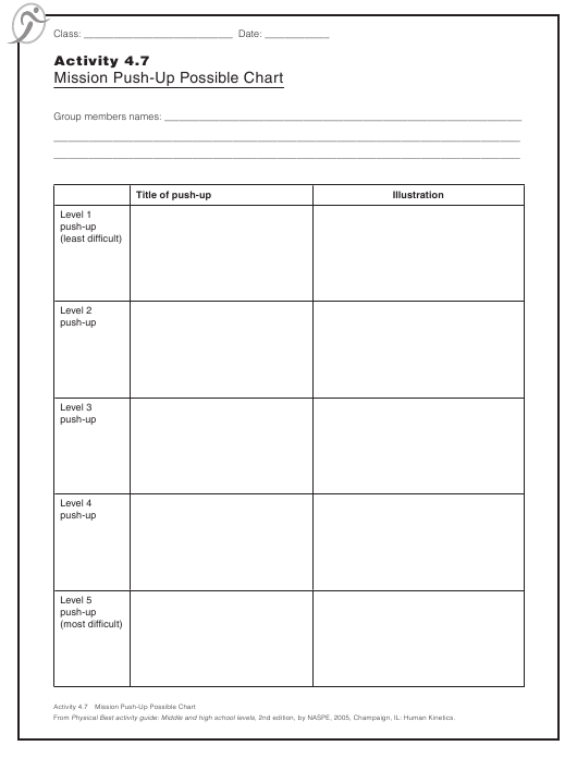 """""""Mission Push-Up Possible Chart Template"""" Download Pdf"""