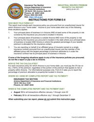 """Form E-II """"Industrial Insured Premium Receipts Tax Report"""" - Arizona"""