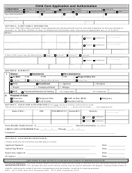 """Form DEO-WTP5002 """"Child Care Application and Authorization"""" - Florida"""
