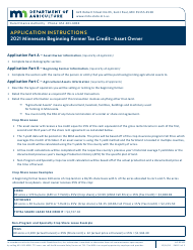 "Form AG-03362 ""Minnesota Beginning Farmer Tax Credit Asset Owner Application"" - Minnesota, 2021"
