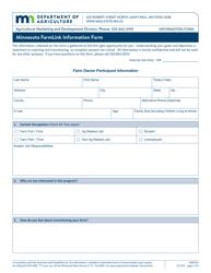 "Form AG03242 ""Minnesota Farmlink Information Form - Existing/Retiring Farmer"" - Minnesota"