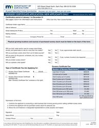 "Form AG00693 ""Nursery Certificate Application"" - Minnesota"