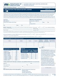 """Form AG00960 """"Application for Grain Buyer License"""" - Minnesota"""