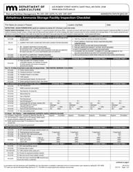 "Form AG-01314 ""Anhydrous Ammonia Storage Facility Inspection Checklist"" - Minnesota"